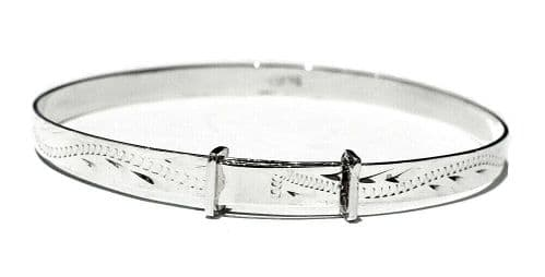 Child's Silver Bangle 3 - 7 Years Engraved Design Sterling Silver